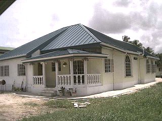 Back of Chaguanas home. Designed by the Architect.